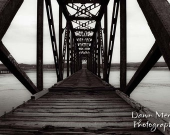 Bridge Photo Print Black White Photography Wall Print Train Bridge Photograph, Fine Art Photography, Black And White Photograph