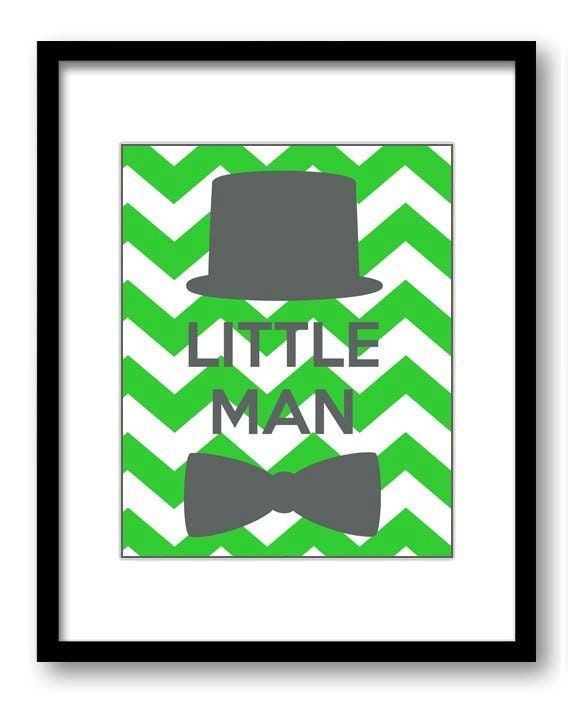 Lime Green Grey Little Man Nursery Art Nursery Print Tophat Bowtie Child Baby Art Print Boys Kids Ro