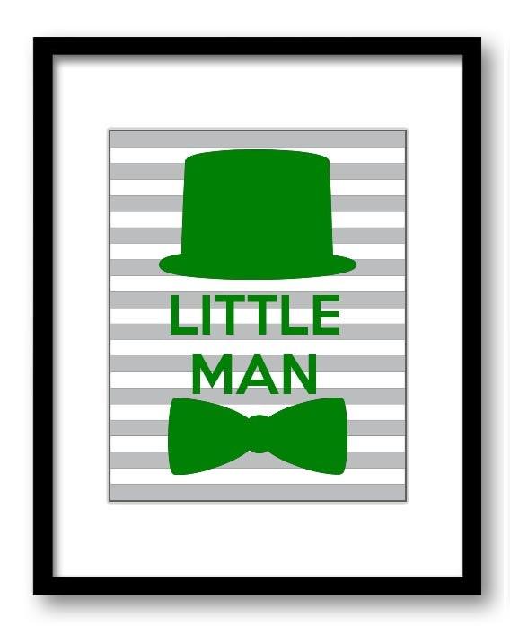 Green Grey Stripes Little Man Nursery Art Nursery Print Tophat Bowtie Child Baby Boy Art Print Kids