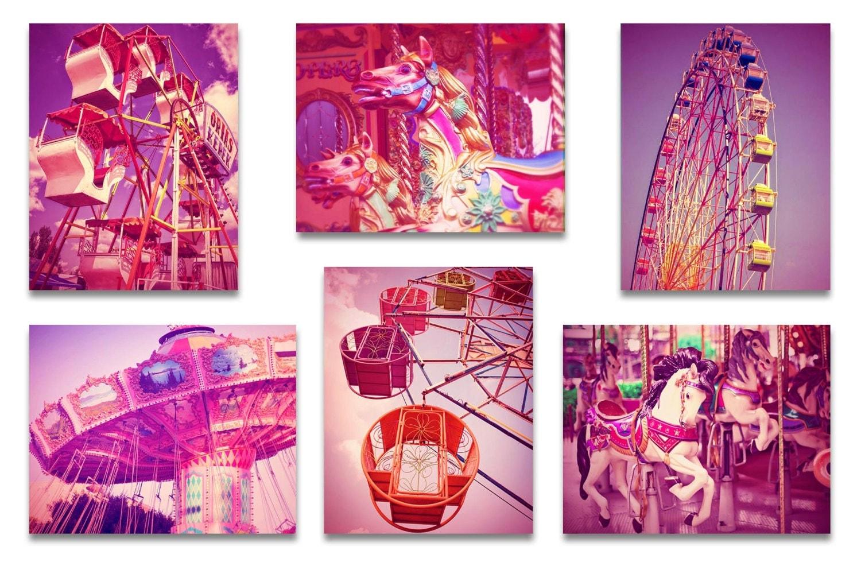 Old Carnival Nursery Print Child Pink Baby Girl Art Prints Set of 6 Vintage Fair Circus Ferris Wheel