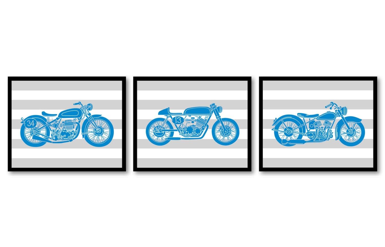 Motorcycle Nursery Art Nursery Prints Transportation Set of 3 Prints Blue Grey Stripes Boys Art Nurs