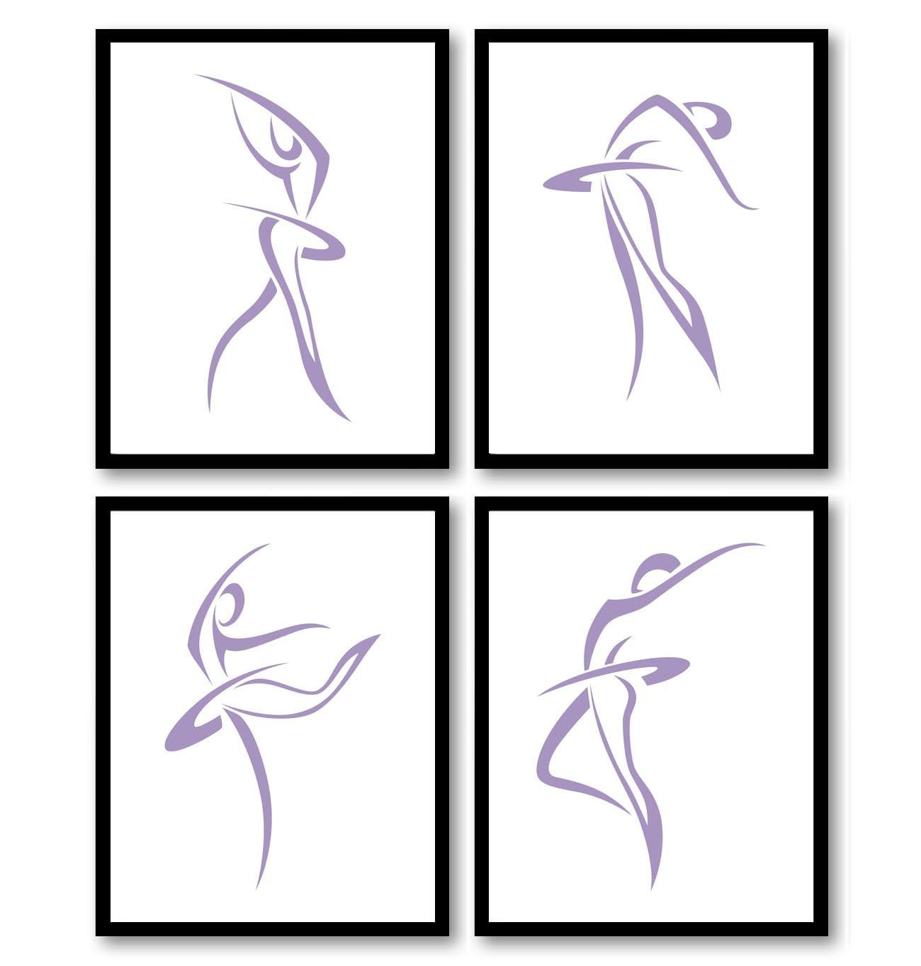 Purple White Modern Ballerina Art Child Baby Art Prints Set of 4 Silhouette Ballet Girl Kids Room Wa