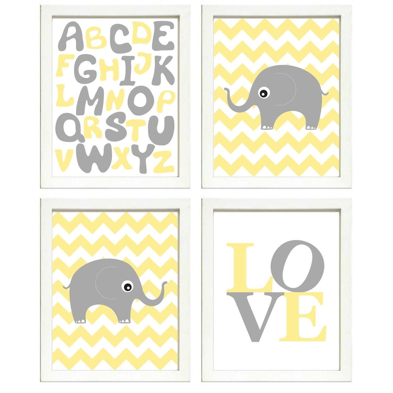 Elephant Nursery Art Set of 4 Prints Grey Yellow Chevron LOVE Alphabet ABC Child Kids Room Wall Deco