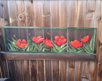 Old recycled window screen Red Poppy Wall Art - Red Poppy Painting- Home Decor  - Flower Poppies -outdoor and indoor art