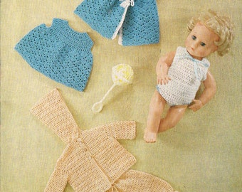 14 inch Baby Dolls clothes crochet pattern.Vintage  copy. PDF Instant download