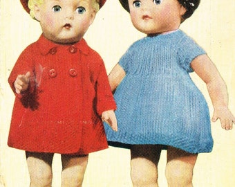 Dolls clothes knitting pattern for 10 inch,12 inch, 14 inch doll. Vintage copy. PDf instant download.