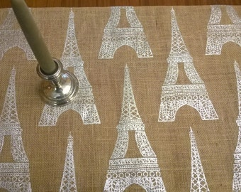 "92"" Natural Burlap Table Runner with Silverv Eiffel Towers"