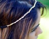 THE AILEEN - Twisted Grecian Greek Goddess Headband Head Elastic Hair Band Twine Glittery Wedding Bridal Boho Bridesmaid Halloween Goddess