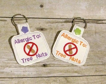 Allergic to tree nuts Key Fob design Instant Download