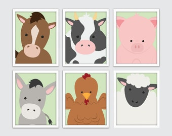 Baby Farm Animals Nursery, Farm Animals Baby Nursery, Farm Animals Nursery Decor, Farm Baby Animals Nursery Art, Farm Animals for Baby Gift