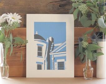 Bright Blue & Grey Row Houses of Richmond, VA Screen Print