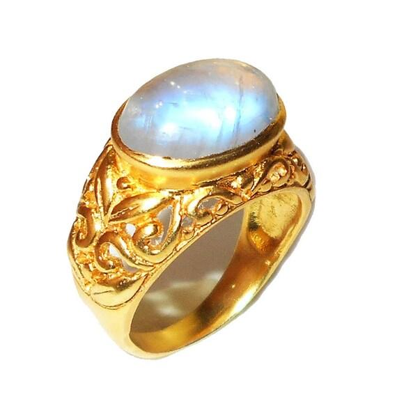 Rainbow Moonstone Ring Handmade Ring Natural Stone Ring By