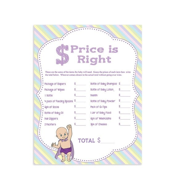 baby shower game the price is right printable by thevintagepen