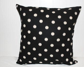 Pillow, Throw Pillow Cover, Decorative Pillow Cover Black and Tan Dots
