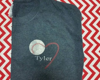 Baseball T with heart heat press