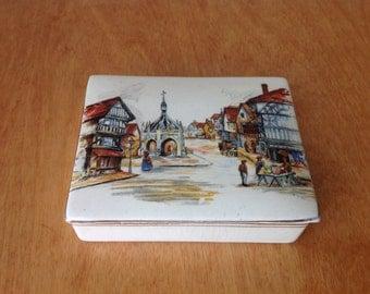 Charles Dickens Town Square, Porcelain Box from Lancaster and Sandland LTD, Hanley England, Sandland Ware, Trinket Box, Vanity Box