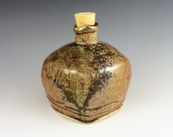 Shino Wood Ash Porcelain Bottle