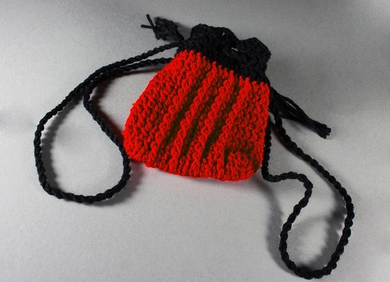 Crochet Boho Wristlet Drawstring Pouch Handmade Red and Black