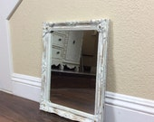 BEAUTIFUL WHITE MIRROR For Sale, Vintage Design, Rustic White Mirror, Wall Mirror, Nusery Decor, Ornate Framed Mirror, Cottage Chic