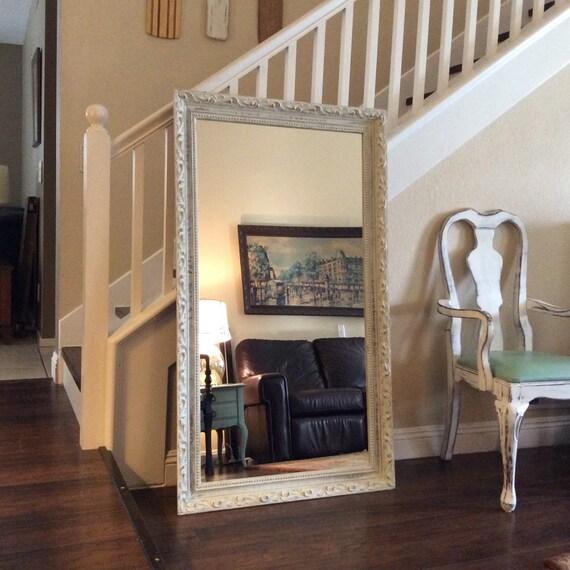 Fabuleux miroir blanc orn de mur miroir penchant grand miroir - Mur de miroir ...