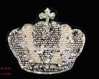 1 Pc Golden Sequins Crown Applique Embroidery Appliques, Costume Design