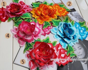 Beautiful showy Red Rosy  Blue orange purple Large 3D peony Flower Lace Appliques Embroidery Lace Iron on Applique Patch For Costume Design