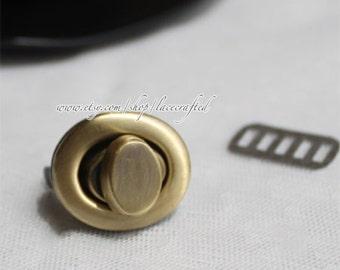 2set 2.5cm Brushed Brass Purse Twist Lock Closure Oval Turn Lock Bag Fastener Bag Twist Lock Bag Turn Lock metal lock for tote shoulder