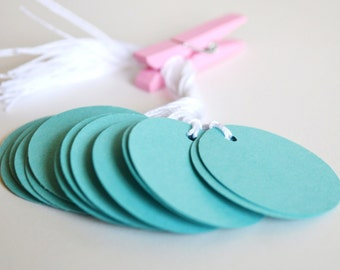 teal circle tags with string, teal price tags, teal favor tags, teal gift tags- 15 tags