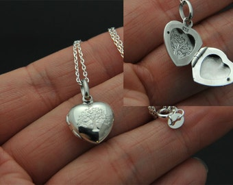 All Sterling silver Heart Locket Necklace, Love charm Necklace, heart necklace, holiday gift, locket necklace