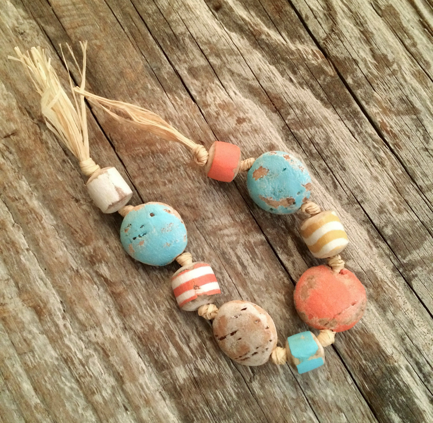 Cork Beads: Driftwood And Cork Beads Painted Driftwood Beads Rustic