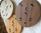 Wood Coasters - Set of 4 - Engraved Wood Coasters - Birds on Wire - set of 4