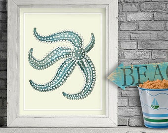 Starfish print in blue and white, wall art Nautical print Bathroom wall art bathroom print kids bathroom art Nautical Nursery Coastal art