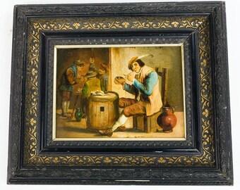 19th century Beautiful Oil painting Interior Scene of Drinking & pipe Smoking