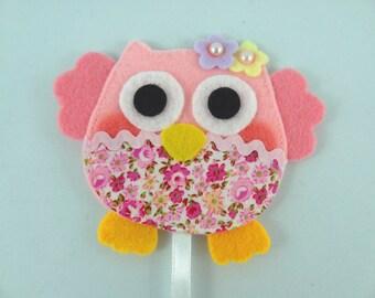 Owl Felt Bookmark - Pink Felt Bookmark - Pink Owl Felt Bookmark