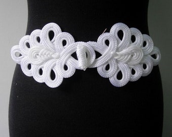 MR05-10 Braided Loops Macrame Fastener Frog Closure Knot White Handmade Knots/Craft/Jewelry