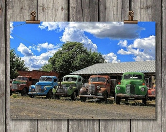 Colorful Vintage Trucks - Old Farm Trucks - Sprague, WA - Fine Art Photography Print