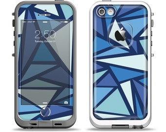 The Large Vector Shards of Blue Apple iPhone LifeProof Case Skin Set
