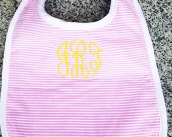 Baby Bib with Monogram in Pink Seersucker / Monogram Baby Gift