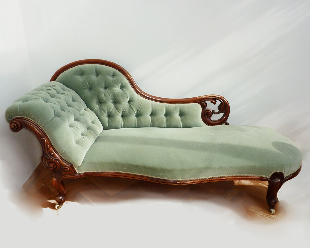 Victorian chaise lounge aqua for Aqua chaise lounge