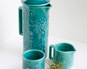 Japanese Turquoise Pottery Pitcher and Glasses