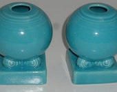 Homer Laughlin Fiesta Candle Holders Bulb Pair Turquoise Blue - Excellent Condition - Vintage