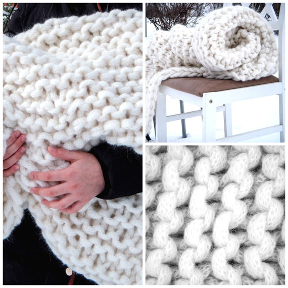 Items similar to Chunky Knit Blanket Giant Super Chunky ...