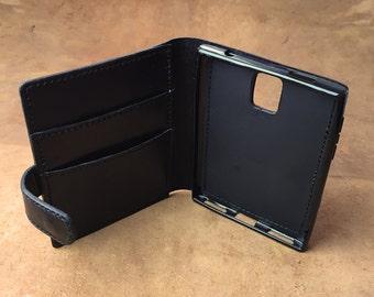 Blackberry Passport Leather Flip Case, BB Passport Leather Case with Card Holder, Passport Case Handmade in London UK