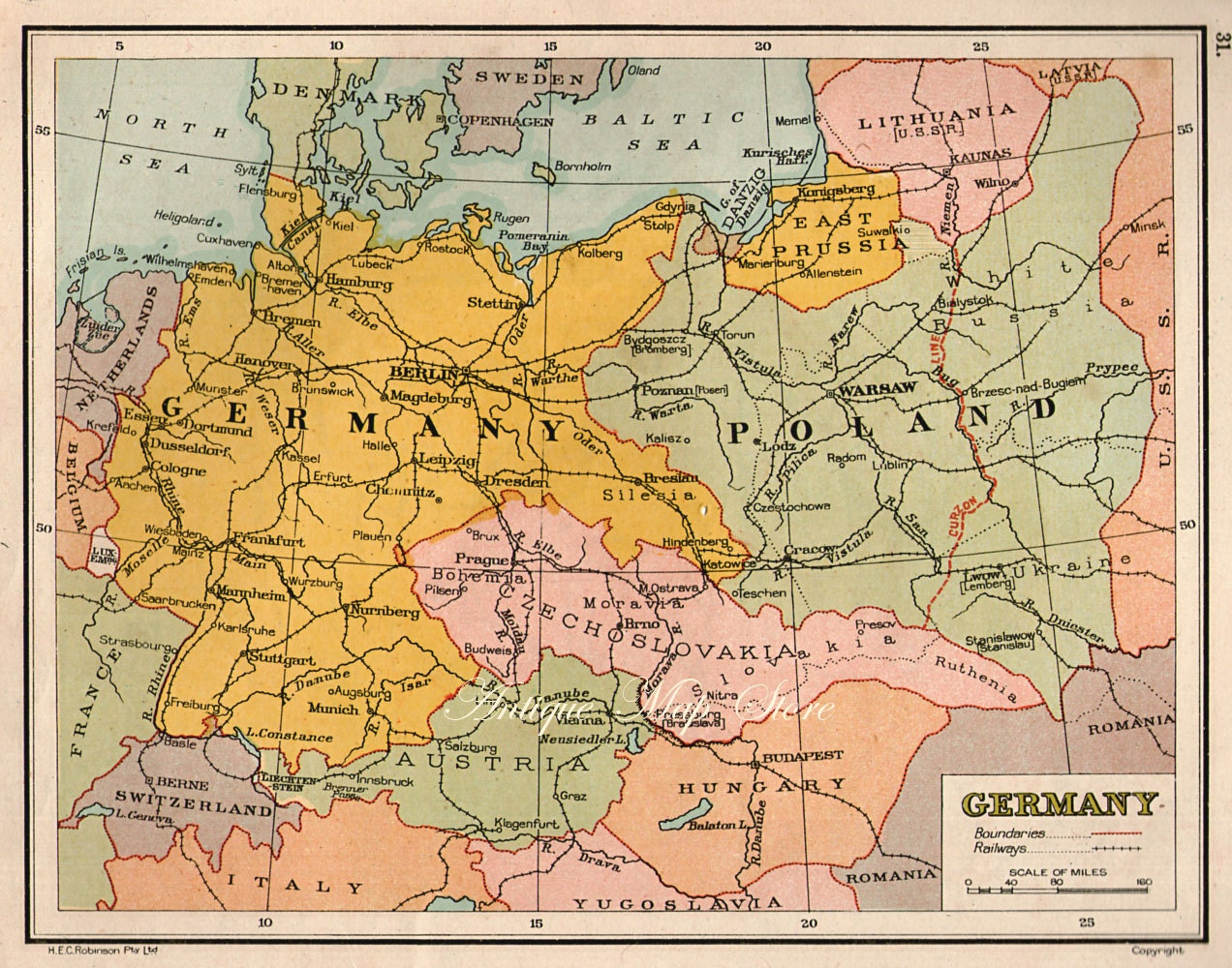 Germany Map Countries Nations Atlas Antique Map X - Germany map 1940