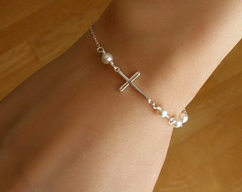 Silver Sideways Cross Bracelet, Silver Sideways Cross, Cross Bracelet, Holiday Gifts, Gift for her, Dainty Bracelet, Bridesmaid Gifts