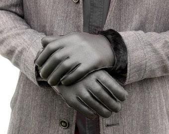 Leather Gloves, Gloves, Leather Fur Gloves, Warm gloves, Black Gloves, Winter Gloves, Gift for Him, Mens Gloves, Shearling Fur Gloves