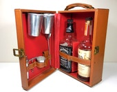 Vintage 1960s Travel Bar Portable Pub Cocktail Bar Set for Two -- carmel leather case with tools -  mid century mad men style - groom gift