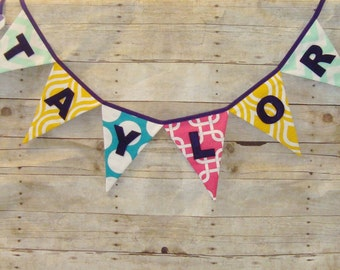Name Banner - Baby Shower Decoration - Fabric Bunting - Fabric Name Banner - Bright Colors - Fun and Festive
