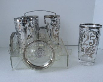 Silver Rim 25th Anniversary Glasses and Coaster Set with Caddy, Anniversary Gift