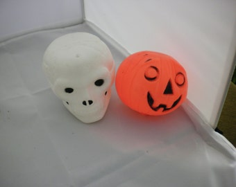 Two Blow Mold Halloween Display Pumpkin and Ghost